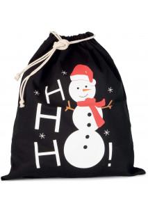 Baumwolltasche mit Kordelzug und Schneemannmotiv