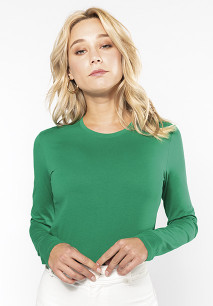 Ladies' long-sleeved crew neck T-shirt