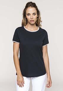 Rundhals-T-Shirt aus Piqué für Damen