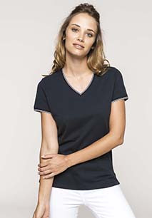 Ladies' piqué knit V-neck T-shirt