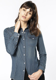 DAMEN DENIM-HEMD LANGARM