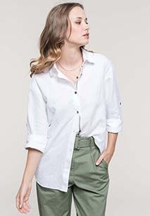 Langarm-Leinenhemd für Damen