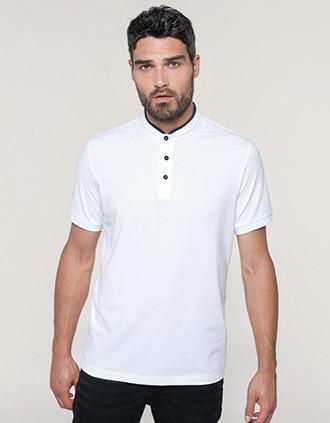 Kurzarm-Polohemd für Herren mit Maokragen