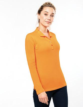 Damen Langarm-Polohemd. Baumwollpiqué
