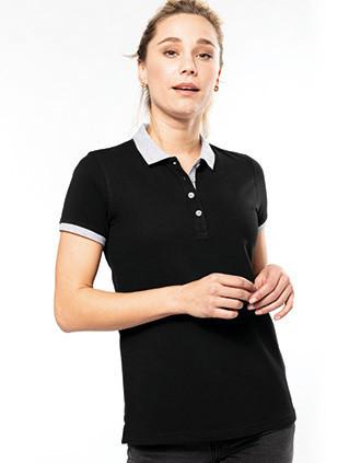Zweifarbiges Piqué-Polohemd für Damen