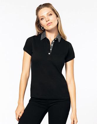 Zweifarbiges Jersey-Polohemd für Damen