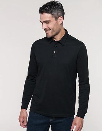 Langarm-Polohemd für Herren aus Jersey