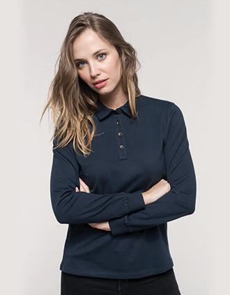 Langarm-Polohemd für Damen aus Jersey