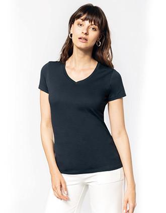 Damen-T-Shirt Supima® mit V-Ausschnitt und kurzen Ärmeln