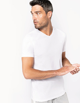 Kurzarm-T-Shirt mit V-Ausschnitt