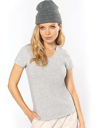 Kurzarm-Damen-T-Shirt mit V-Ausschnitt