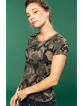 Damen-T-Shirt Camo mit kurzen Ärmeln