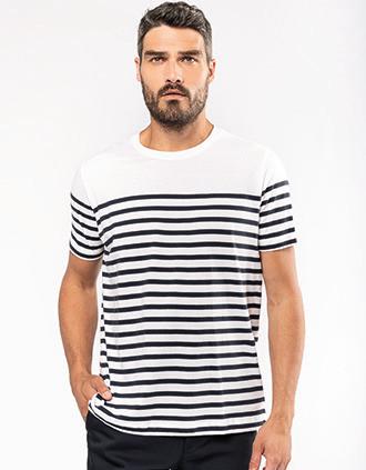 T-Shirt im Marine-Stil mit Rundhalsausschnitt Bio Herren