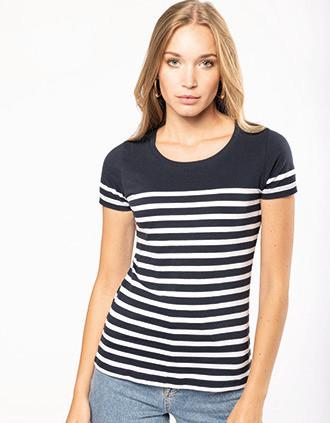 T-Shirt im Marine-Stil mit Rundhalsausschnitt Bio Damen