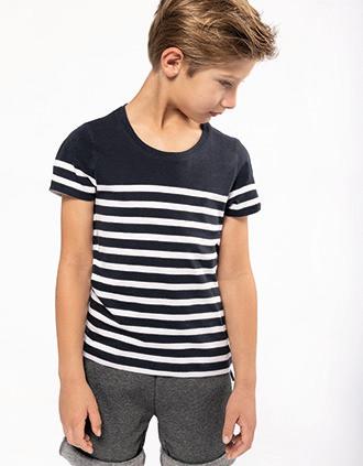 T-Shirt im Marine-Stil mit Rundhalsausschnitt Bio Kinder