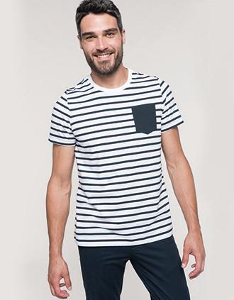 Gestreiftes Kurzarm-T-Shirt im Marine-Stil mit Tasche