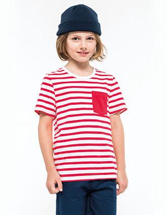 Gestreiftes Kurzarm-T-Shirt mit Tasche für Kinder im Marine-Stil