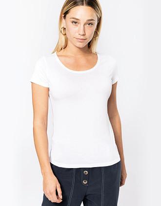 Bio-T-Shirt für Damen mit kurzen Ärmeln und ungesäumtem Halsausschnitt