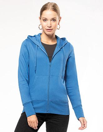 Umweltfreundliches Kapuzensweatshirt mit Reißverschluss Damen