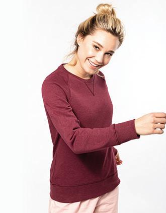Damen Sweatshirt BIO-BAUMWOLLE Rundhalsausschnitt Raglanärmel