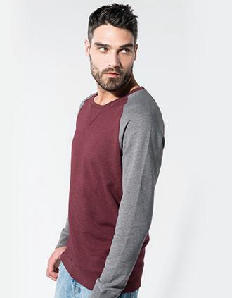 Zweifarbiges Herren-Sweatshirt BIO mit Rundhalsausschnitt und Raglanärmeln