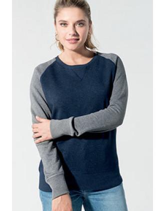 Zweifarbiges Damen-Sweatshirt BIO mit Rundhalsausschnitt und Raglanärmeln