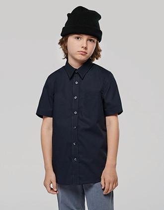 Kinder Popelin-Hemd Kurzarm