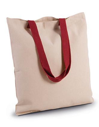 Flache Shoppingtasche aus Tuch mit kontrastfarbenem Griff