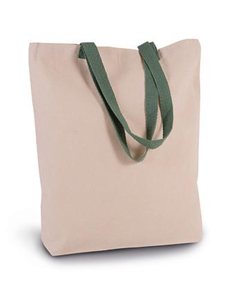 Shoppingtasche mit Seitenfalte und kontrastfarbenem Griff
