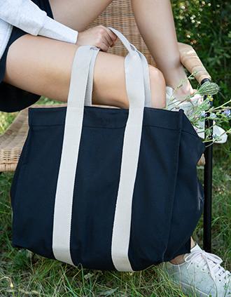 Große recycelte Shoppingtasche mit Seitenfalte