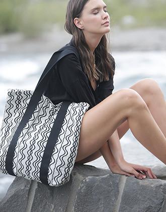 Recycelte Shoppingtasche – Wellenmuster