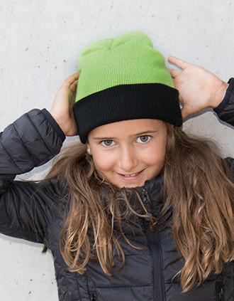 Kindermütze - Zweifarbig mit Umschlag