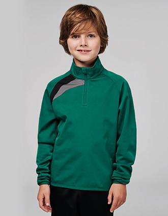 Kinder Trainings-Sweatshirt mit 1/4 Reißverschluss