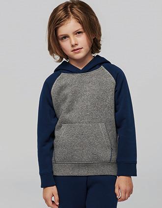 Zweifarbiges Kapuzensweatshirt für Kinder