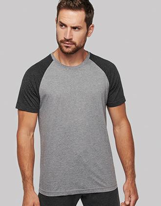 Zweifarbiges Triblend Sport-T-Shirt mit kurzen Ärmeln für Erwachsene