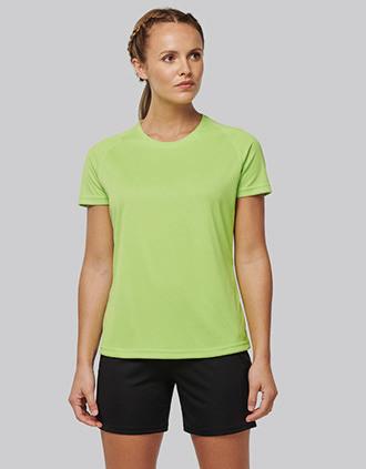 Damen-Sportshirt aus Recyclingmaterial mit Rundhalsausschnitt