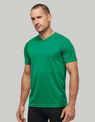 Herren Kurzarm-Sportshirt mit V-Ausschnitt