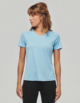 Damen Kurzarm-Sportshirt mit V-Ausschnitt