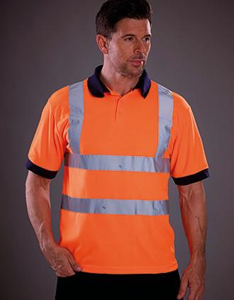 YOKO Kurzärmliges Polo Shirt in Warnfarbe
