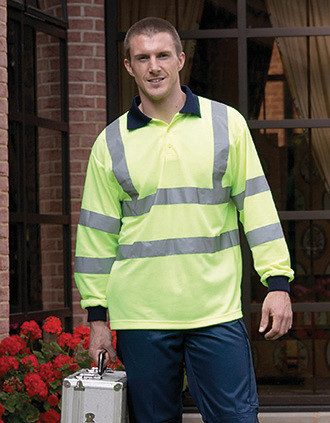YOKO Langärmliges Poloshirt in Warnfarbe